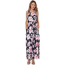 7260108e9f9c9 Lover-Beauty Vestido Largo Mujer Floral Print Top Ajustado Casual y  Elegante Cuello Redondo Falda