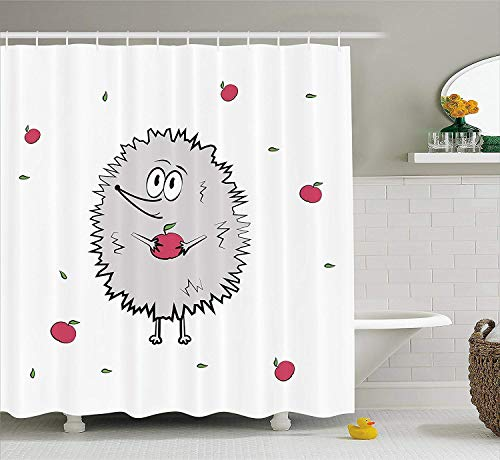Ewtretr Hedgehog Shower Curtain Happy Animal Apples And Leaves Doodle Style Cartoon Drawing Fun Illustration