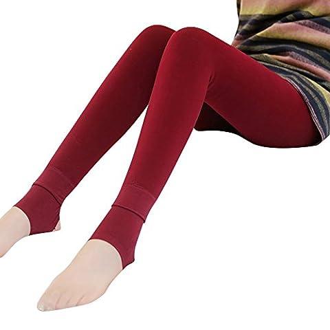 Collants Confort Chauds Thermo pour Femme Longue Leggings Elasticité Vin Rouge OneSize