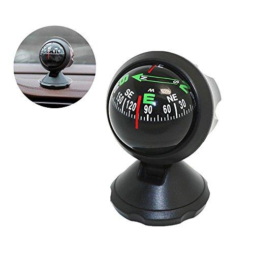 TEEPAO Kompass Auto Mini Compact Ball Kompass mit Klebstoff und zarte Dekoration, perfekt für finden Richtung, Universal für die meisten Autos, schwarz