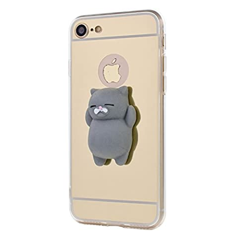 Coque iPhone SE / 5 / 5S, 3D Squishy Cartoon Cute Chat Étui doux Silikon TPU Housses finger pinch Stress Relieve Miroir arrière Cover Case für iPhone SE / 5 / 5S -- Chat gris, Or