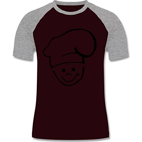 Küche - Küchenchef - zweifarbiges Baseballshirt für Männer Burgundrot/Grau meliert