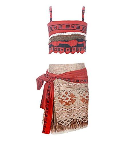 ReliBeauty Mädchen Kleid Vaiana Kostüm Prinzessin Moana Digitaldruck Muster Trägertop Quaste Rock, Rot, (Kostüme Disney Muster)
