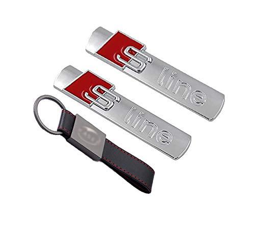 2X Set Stemma Fregio S-Line (45 * 15mm) Lato Ala Badge Emblema per Audi A3 A5 A7 Q3 Q5 Argento Cromato【+ Portachiavi Pelle】