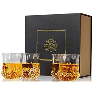 KANARS 4-teiliges Whisky Gläser Set, Bleifrei Kristallgläser, Whiskey Glas, 300ml, Schöne Geschenk Box, Hochwertig