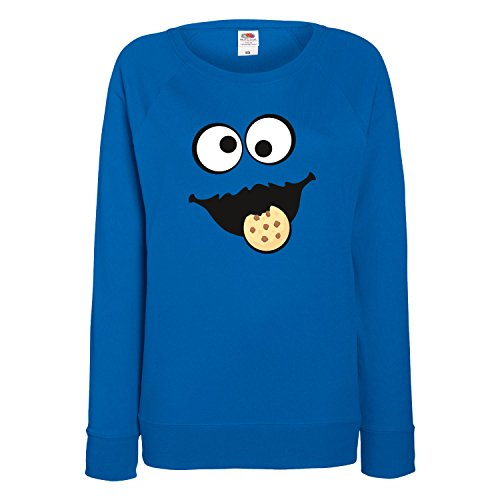 Keks Monster Damen Sweatshirt Gruppen Kostüm Karneval Fasching Verkleidung Party JGA Royal Blue S