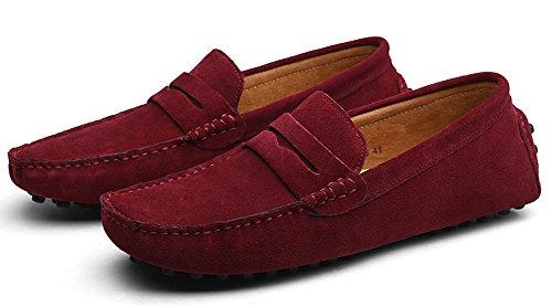 ZEROLING Herren Lederne Schuhe Suede Loafers Rot