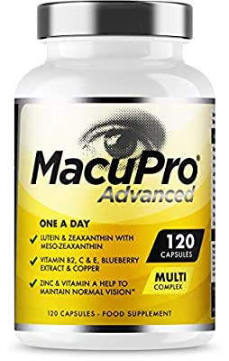 Advanced Macu Eye Care Supplement - 120 Capsules For Macular Health - Zeaxanthin, Meso Zeaxanthin, Lutein & Blueberry Extract Plus Essential Vitamins and Minerals Scientifically Proven to Help Maintain Normal Vision - Large 4 Months Supply - Vegan & Veget