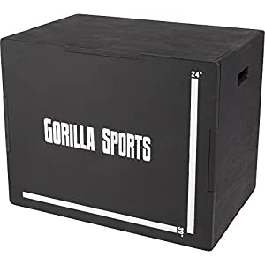 GORILLA SPORTS® Plyobox Holz Schwarz – Jump-Box für plyometrisches Cross-Training 71 x 51 x 60,5 cm