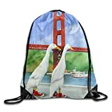 Hats New Golden Gate Bridge Duck Printed Youth Drawstring Backpack Women Waterproof Daypack Tote Gym 16.9