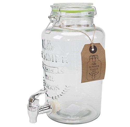 Saftspender 3 Liter aus Glas mit Zapfhahn Wasserspender Getränkespender Neu Glas-wasserspender
