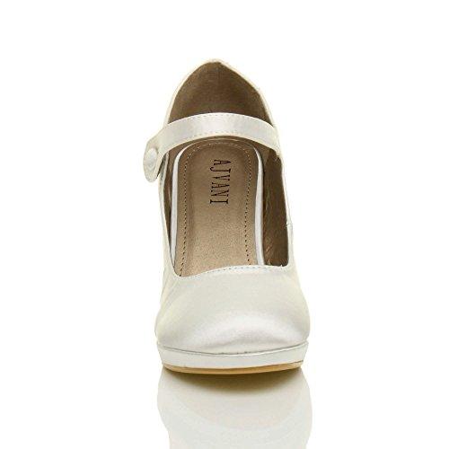 Damen Mittel Hoher Absatz Mary Jane Riemen Abend Elegant Pumps Schuhe Größe Weiß Satin