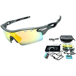 TR90 UV400 Negro Unisex Gafas de Sol Deportivas Polarizadas 5 Lentes de Cambios Incluido para Deporte y Aire Libre Ciclismo Conducción Pesca Esquiar Golf Correr Negro