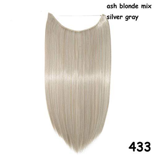 20 Zoll 100% Echthaar Unsichtbarer Draht In Synthetischen Haarverlängerungen Kein Clip Mit Richtiger Linie Einfach Anbringen 433 20inches -