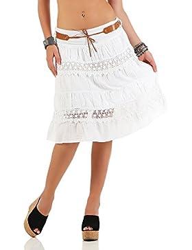 malito verano falda con cinturón tramo et cinturón 16167 Mujer Talla Única