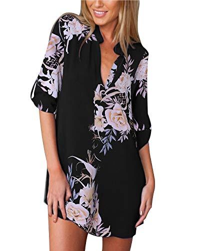 ZANZEA Damen V-Ausschnitt Chiffon Langarm Bluse Oversize Blumen T-Shirt Lose Tops 01-schwarz2 EU 46/US 14 (T-shirt Floral V-neck)