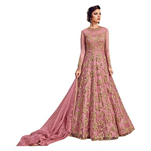 ETHNIC EMPORIUM Damen Festival Netto-Long-Braut Muslim Hochzeit Anarkali Salwar Kameez-Kleid-pakistanische Muslim indische Diwali 7142 43485 Wie gezeigt (Netto-long-kleid)
