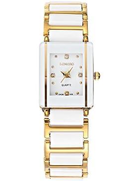 Longbo Luxus Damen Quadratisch Fall Edelstahl Gold Link & Weiß Keramik Band Armband Uhren Casual Wasserdicht Paar...