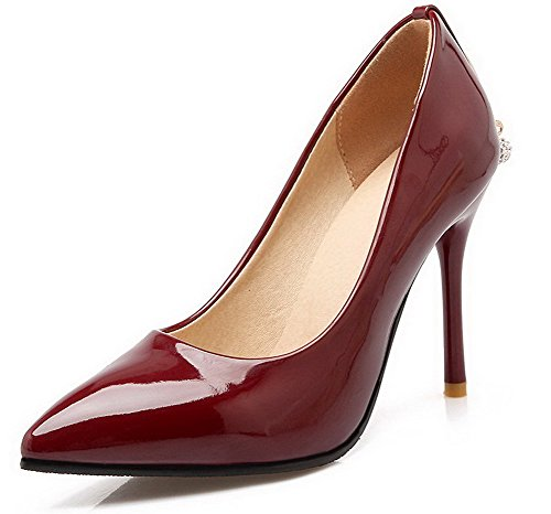 VogueZone009 Damen Rein Pu Leder Spitz Zehe Stiletto Ziehen Auf Pumps Schuhe Rot