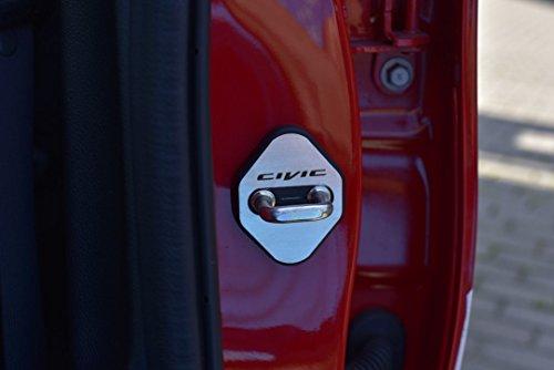 Stahlabdeckung für Civic X (4-türig satz) - 4 Stück Türschlossabdeckungen Türgriffe Platte Edelstahl Gebürstet Blenden Cockpit Dekor Mass Angefertigt (Platte Türgriff)