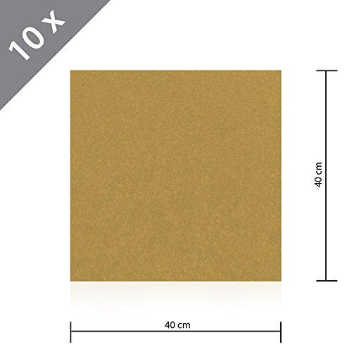 10 x HSM Teppichfliese Nadelfilz Bodenbelag selbstklebend für Treppe, Kinderzimmer oder Küche 40cm x 40cm BEIGE (10x10 Teppiche)