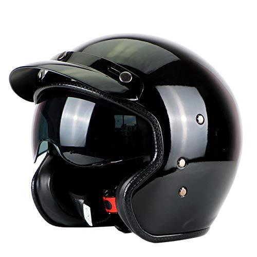 Casco retrò Casco motocross 3/4 in fibra di vetro nero a faccia aperta Casco jet Casco retro Visiera interna Nero lucido XL