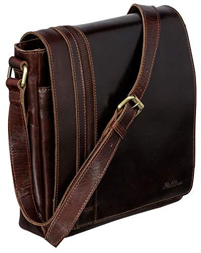 Red Baron Ferrara Herren-Damen Umhänge-Tasche Klein - Echtes Rinds-Leder - Handtasche Mini Messenger-Bag Schultertasche Luxus Braun - RB-BG-002-06