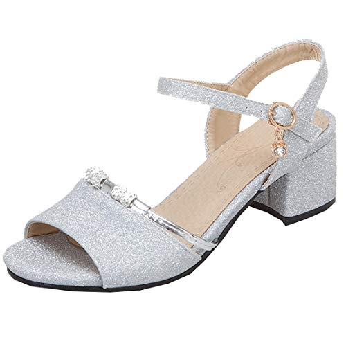 Artfaerie Riemchensandalen Glitzer Damen Chunky Heels Sandalen mit Blockabsatz und Riemchen Sandaletten 5cm Absatz Open Toe Sandals -