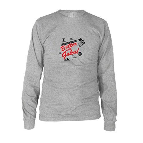 DBZ: Better call Goku - Herren Langarm T-Shirt, Größe: L, Farbe: grau meliert