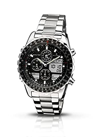 Accurist Men's Quartz Watch with Black Dial Chronograph Display and Silver Stainless Steel Bracelet Mb775B.01