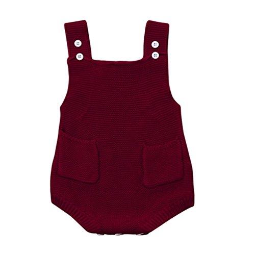 Baby Kleidung Set,Traumzimmer Das Neugeborene MäDchen Solide Als Kleinkind Tasche Overall Kleidung Strampler Outfit 0-24M (Wein, Größe:18-24M) (Größe 20 Overalls)