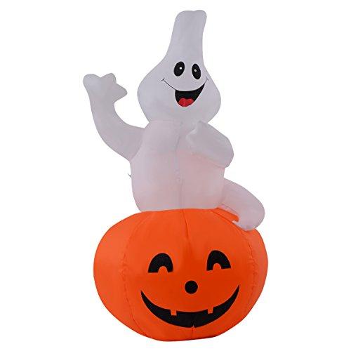 Goplus Halloween Aufblasbar Deko Geist und Kürbis Luftfiguren LED Beleuchtet Ghost Hexe Party mit LED Beleuchtung weiss und Orange