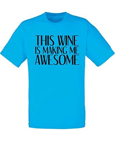 Brand88 - Brand88 - This Wine Is Making Me Awesome, Mann Gedruckt T-Shirt Azurblau/Schwarz