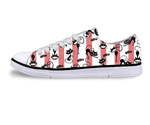 Cat Print Women Canvas Shoes Girls School Wear Lace Up Pumps Casual Plimsolls with Pink UK 8
