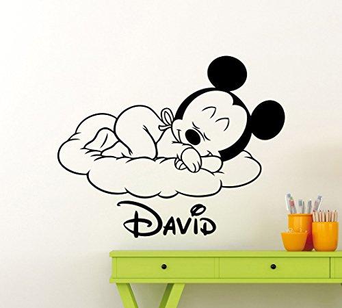 Personalisierte Mickey Maus Wand Aufkleber Kinderzimmer Custom Baby Namen Cartoon Disney Vinyl Aufkleber Persönlichen Home Kinderzimmer Art Decor Kinder Girl Boy Zimmer Wandbild Vinyl Aufkleber (33me) - Boy Disney Wandtattoos
