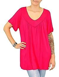 S&LU tolles, sehr bequemes Damen-Oversize-Shirt mit Kette V-Neck Größe 38-46