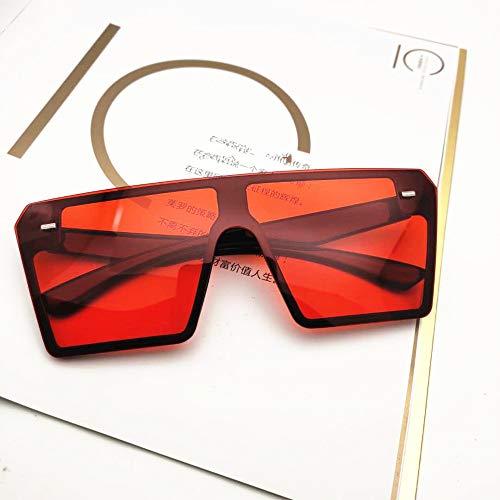 Yangjing-hl Europa und die Vereinigten Staaten Big-Box-Sonnenbrille Retro-Box Persönlichkeit Sonnenbrille verbunden Messbrille schwarz rot Tabletten
