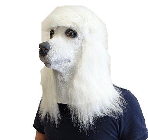 Hohe Kostüm Qualität - Rubber Johnnies TM Pudel Masken Rosa Weiß und Schwarz Latex Hohe Qualität Hund Verrücktes Kostüm Maske - Weißer Pudel