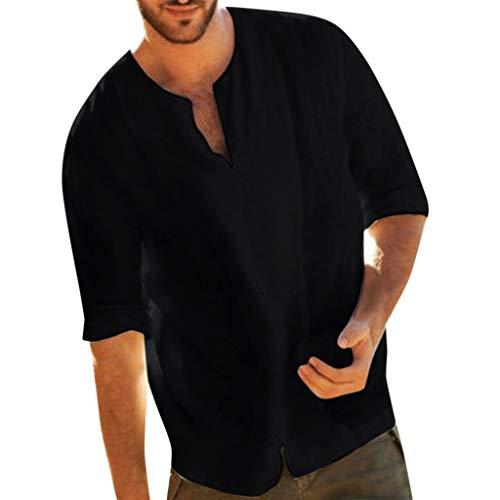 aumwolle Und Leinen Sommer Volltonfarbe V-Ausschnitt Kurze Ärmel Shirt Casual Einfach Tops Bluse(X-Large,Schwarz) ()