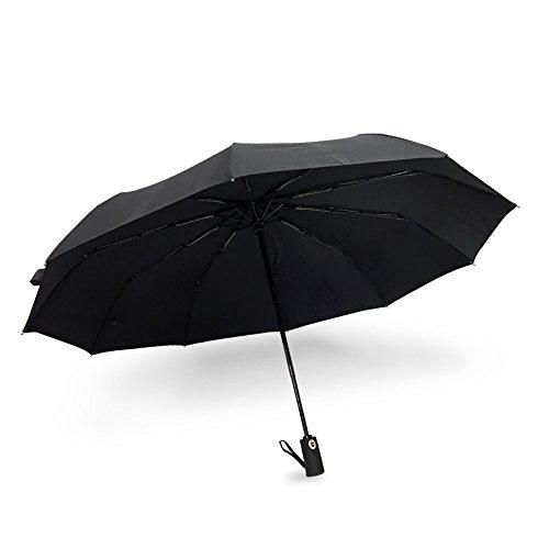 Winddicht Regenschirm - WoodyKnows 10-Rippen Double Layer Regenschirm mit einhändiger Auf-Zu-Automatik, Reise/Outdoor Schirmdurch aus robusten 210T Stoff, transportabel Stockschirme (Schwarz)