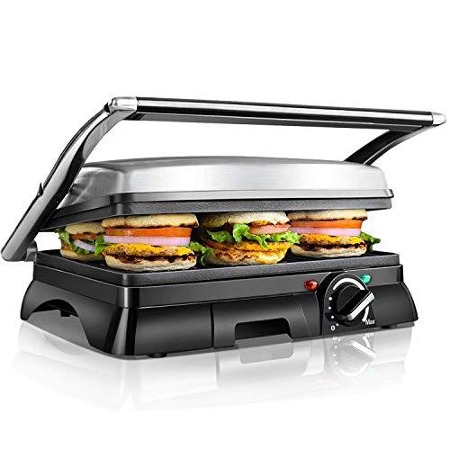 XXL Kontaktgrill,Low Fat Grill,Sandwich Maker,Steak Grill 2000 Watt, antihaft beschichtetes Edelstahl, 180 Grad aufklappbar, Temperaturkontrolle
