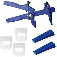 Lantelme 6016 Fliesen Nivelliersystem Basis-Set für Fuge 2 mm und 3-15 mm Stärke - Verlegehilfe - Verlegesystem - Fliesenverlegung - Fliesenverlegehilfe - Fliesenverlegesystem - blue Edition
