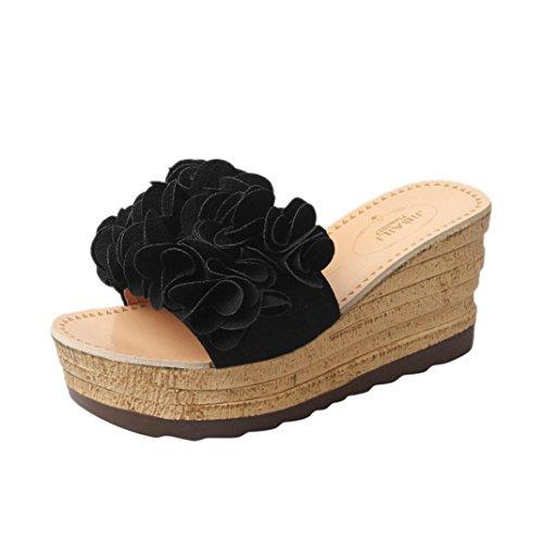 Damen Slippers, Xinan Sommer Mode High Heels Hoch Absatz Keilabsatz Sandalen Slipper Frauen Casual Outdoor Innen Leder Hausschuhe Flip Flops Strandschuhe Badeschuhe (EU:38, Schwarz)