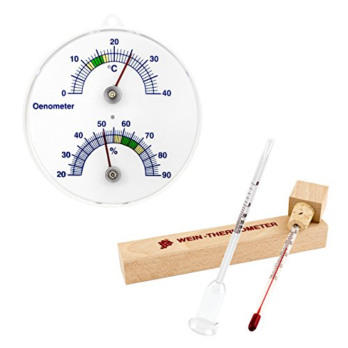 3 tlg. Önometer mit Thermometer und Hygrometer , Weinthermometer im Buchen Holz Etui und Glas Wein Vinometer Set . Deutsche Herstellung