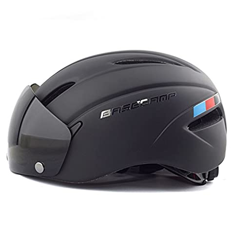 Basecamp Cycling Bike Helmets with Removable Shield Visor (Matte Black)