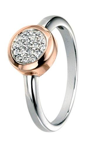 Elements Silver - 925 Sterling-Silber Silber Rundschliff weiß Oxyde de Zirconium (Collectibles Rose White)