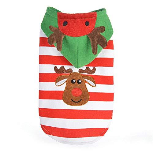 Auoker Hunde-Kapuzenpullover, warm, süßes Haustier Hund Weihnachten Kostüm Kleidung mit Rentier-Muster, Baumwolle, rot und weiß gestreift, Stilvoller Weihnachtspullover für Welpen Hund Katze