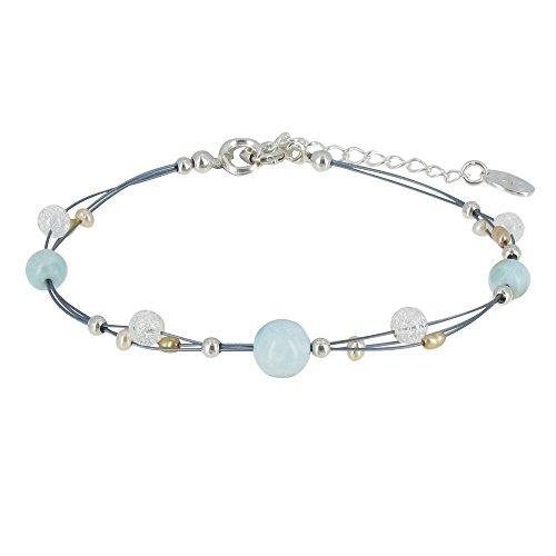 Schmuck Les Poulettes - Armband Kabel Larimar Perlen und Bergkristall