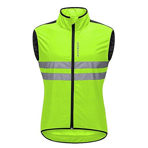 WOSAWE Radweste Atmungsaktive Reflektierende Gilet Männer Frauen Winddicht Ärmellose Jacke Sicherheit für Motorrad, Reiten und Joggen in der Nacht (Grün XXL)