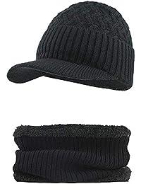 593770cb7d34d Fossen Invierno Hombre Gorro de Punto Tejer de lana Beanie Sombrero de  gorras con Viseras +